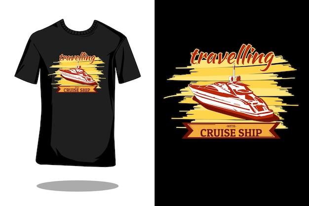 Reizen met cruiseschip retro design Premium Vector