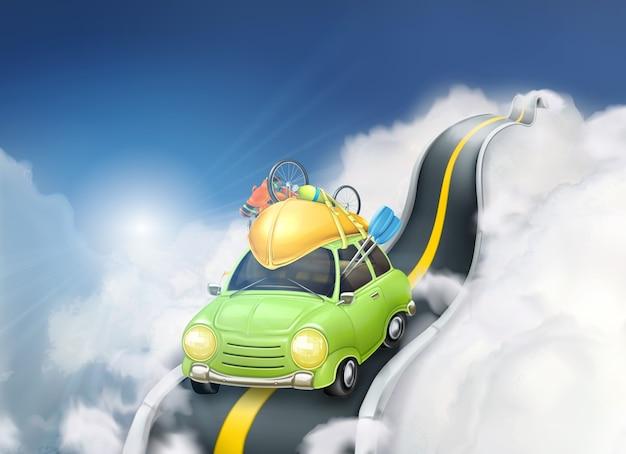 Reizen met de auto in de wolken, vectorillustratie