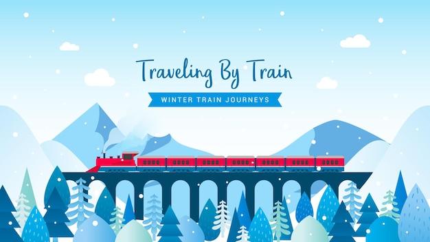 Reizen met de trein winter treinreizen illustratie