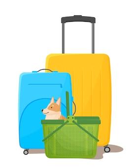 Reizen met huisdieren koffers en een reismand voor een hond een vrolijke corgi naast de transportkooi