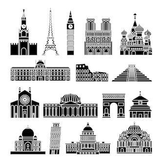 Reizen monumenten zwarte pictogrammen. kremlin en eiffeltoren, big ben en notre dame de paris