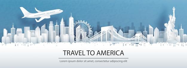 Reizen naar amerika concept met oriëntatiepunten in papier gesneden stijl
