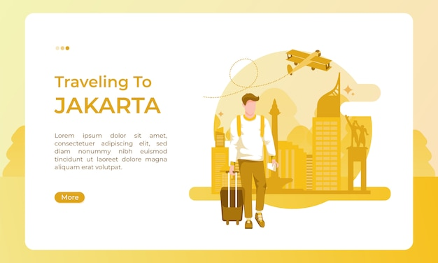 Reizen naar de stad jakarta, geïllustreerd met een vakantiethema voor een toeristische dag