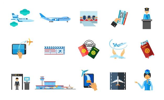 Reizen naar het buitenland pictogram set