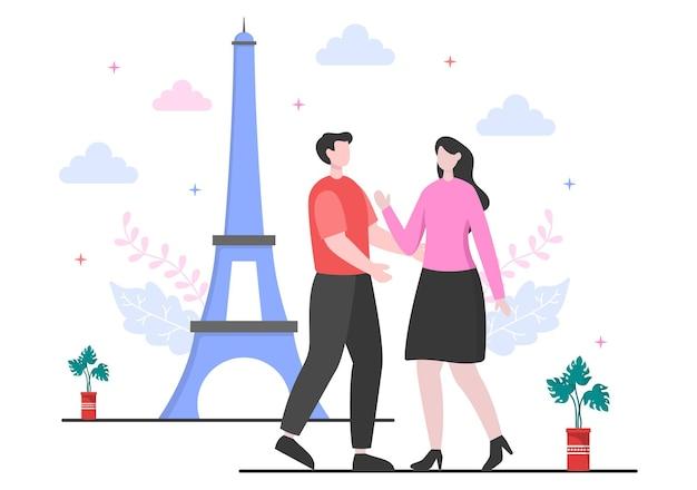 Reizen naar parijs of frankrijk vector illustratie achtergrond. tijd om te bezoeken om het prachtige en romantische landschap bij de eiffeltoren of een ander monumentaal icoon te zien