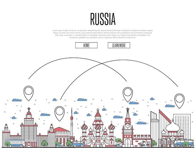 Reizen naar rusland poster in lineaire stijl