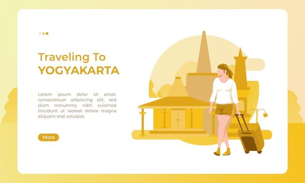 Reizen naar yogyakarta indonesië, geïllustreerd met een vakantiethema voor een toeristische dag