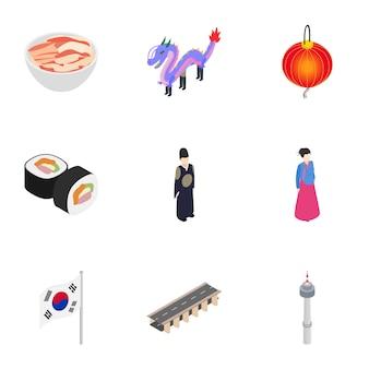 Reizen naar zuid-korea iconen set