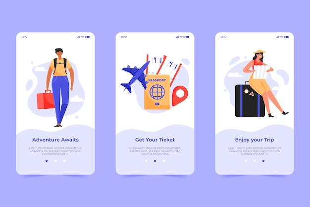 Reizen onboarding app schermconcept