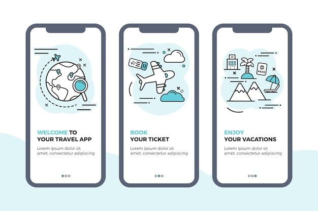 Reizen onboarding app schermen collectie