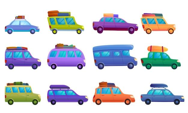 Reizen op auto icon set, cartoon stijl