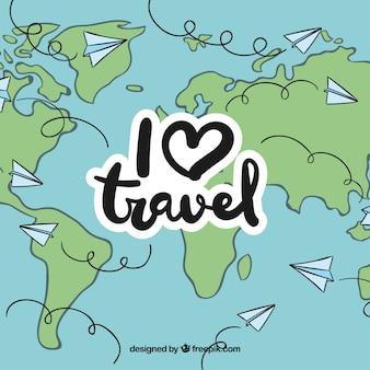 Reizen over de hele wereld door papieren vliegtuig