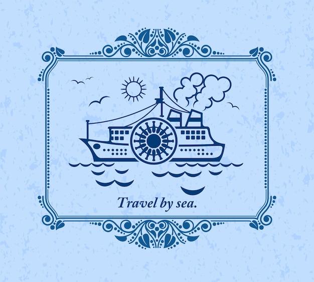 Reizen over zee, vintage ornament wenskaart.