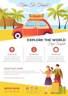 Reizen per auto verkoop flyer-sjabloon