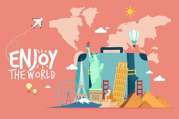 Reizen per vliegtuig. wereldreis. planning van zomervakanties. toerisme en vakantie thema.