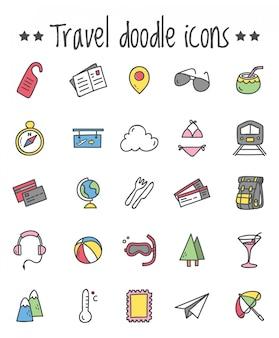 Reizen pictogrammenset in doodle stijl