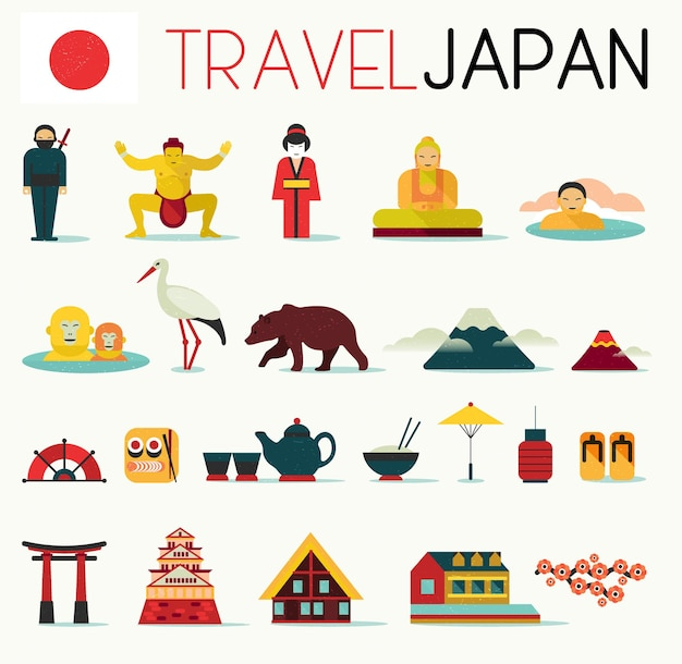 Reizen plat japan pictogrammen ontwerpset.
