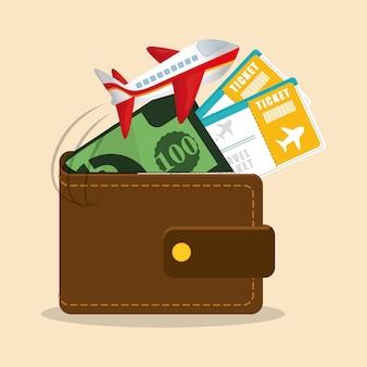 Reizen portemonnee ticket geld vliegtuig
