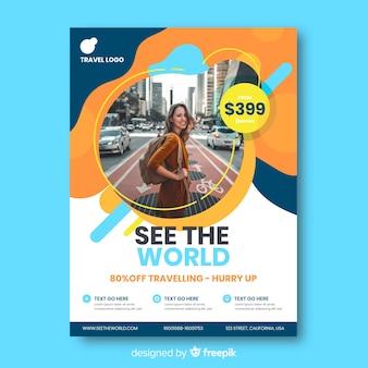 Reizen poster sjabloon met foto