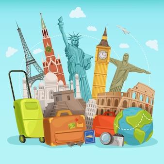 Reizen posterontwerp met verschillende wereldoriëntatiepunten. vector illustraties
