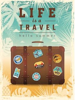 Reizen retro poster. zomervakantie plakkaat met reizen vector tekenen