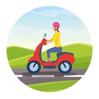 Reizen rijden in scooter cartoon
