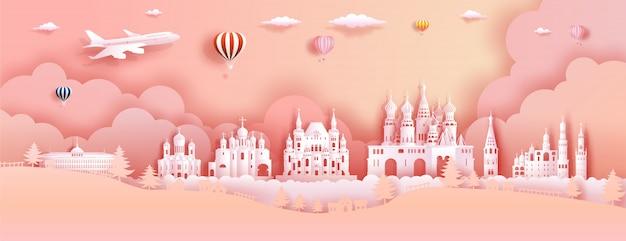 Reizen rusland top wereldberoemde kasteel oude architectuur en paleis.