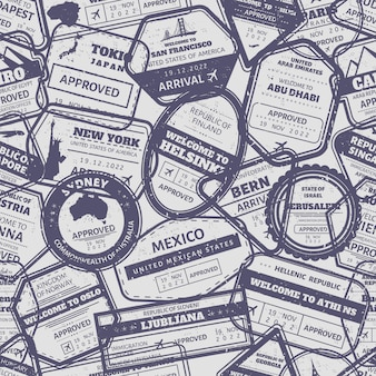 Reizen stempel naadloze patroon. vintage visum internationaal aangekomen postzegels grens. australië, de vs en japan air boarders stempel frames grunge achtergrond