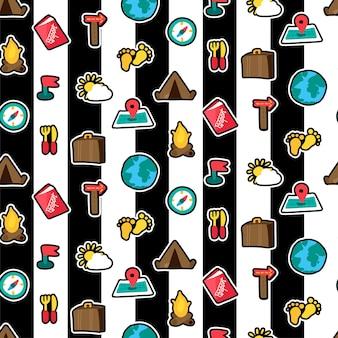 Reizen stickers naadloze kleur vector patroon. reis, wandelen, kampeerplekken. textiel ontwerp