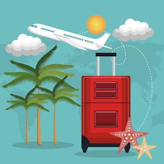 Reizen strand koffer rood vliegtuig vakantie ontwerp