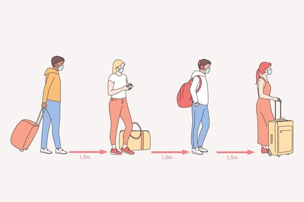 Reizen tijdens uitbraak van de ziekte van coronavirus covid-19 en pandemie concept illustratie