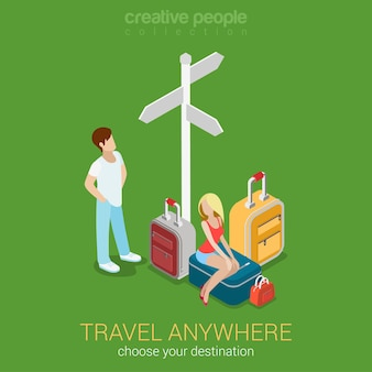 Reizen toerisme 3dbestemmingen platte 3d web Gratis Vector