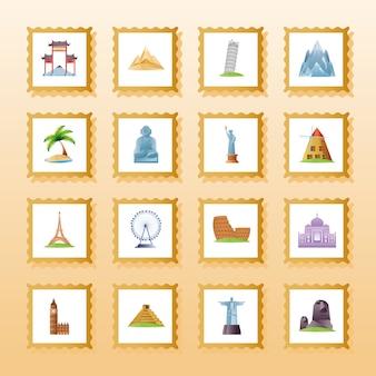 Reizen, toerisme en vakantie stempel monument oriëntatiepunt wereld pictogrammen illustratie