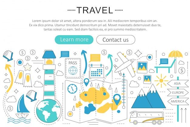 Reizen, toeristen, reizen platte lijn concept