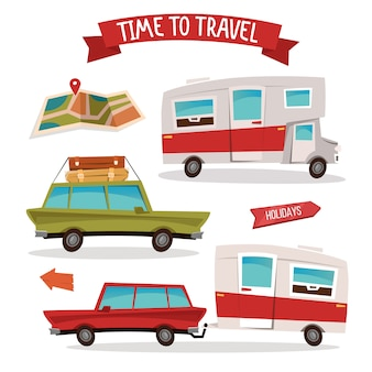 Reizen transportset. reis camper. familie van.