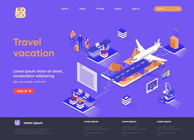Reizen vakantie 3d isometrische bestemmingspagina website illustratie met mensen karakters