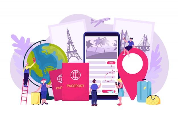 Reizen vakantie boeken, reis reis illustratie. online toeristische dienst, mensen reserveren een vliegticket voor vakantie op internet. man vrouw gebruikt mobiele technologie boeken.