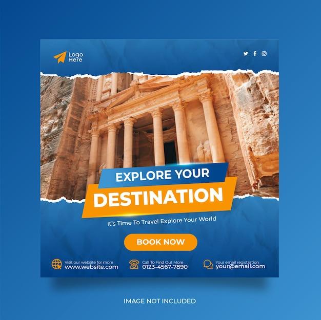 Reizen vakantie vakantie sociale media plaatsen webbanner