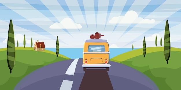 Reizen van camper, bus op de weg gaat naar de zee voor een zomervakantie