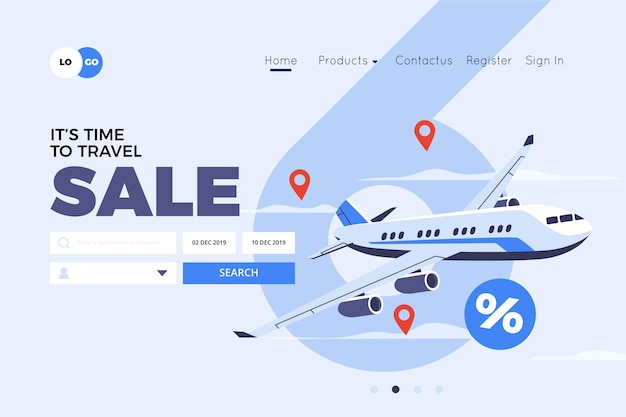 Reizen verkoop bestemmingspagina ontwerp
