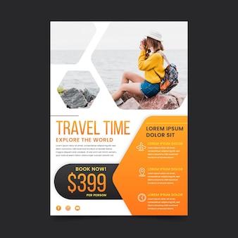 Reizen verkoop flyer sjabloonontwerp