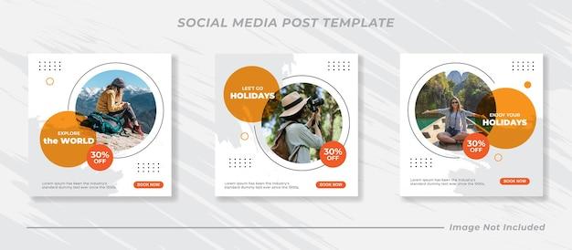 Reizen verkoop instagram post collectie set