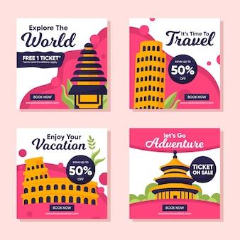 Reizen verkoop instagram posts collectie