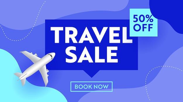 Reizen verkoop reclamebanner met vliegtuig op blauwe achtergrond, ontwerp voor reis uit, winkelen korting. social media promo content ad, off poster, flyer, boek nu kaartsjabloon. vectorillustratie