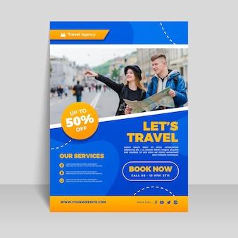 Reizen verkoop sjabloon folder met afbeelding