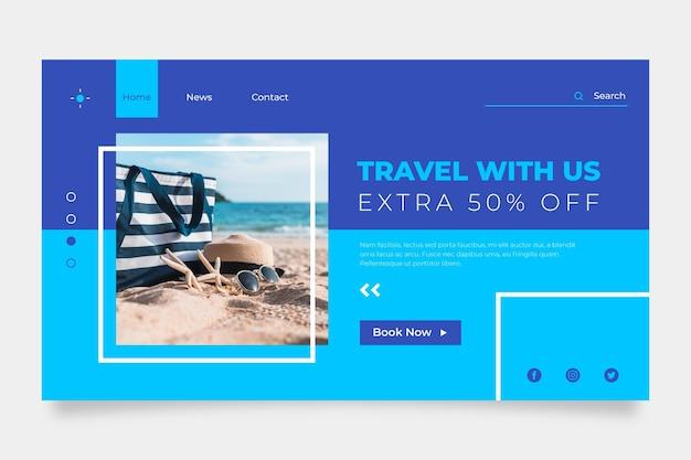 Reizen verkoop webpagina sjabloon met foto