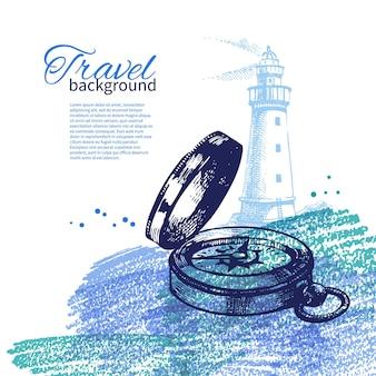 Reizen vintage achtergrond. zee nautisch ontwerp. handgetekende schets en aquarelillustraties
