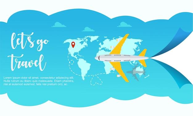Reizen vliegtuig wereld sjabloon