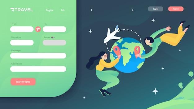 Reizen website vectorillustratie