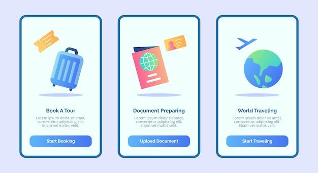 Reizend boek een reisdocument dat wereldreizen voorbereidt voor de gebruikersinterface van de bannerpagina van mobiele apps met drie variaties in moderne egale kleurstijl